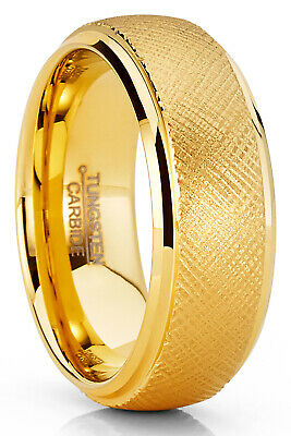 $23.99 • Buy Mens Tungsten Ring Goldtone Wedding Band Dome Textured Brushed Comfort-fit 8MM