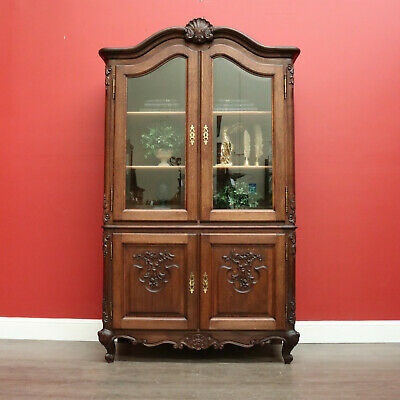 AU1795 • Buy Vintage China Cabinet, French 2 Height Bookcase, Oak 4 Door Display Chest