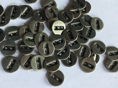 £2.30 • Buy 20 Silver / Pewter Colour Metal 14mm  2 Hole Good Quality Buttons (C51)