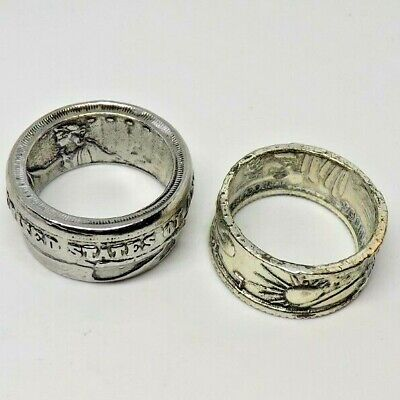 $14 • Buy 2 Men's Preowned Large Coin Style Rings Size 11 And 11 1/2
