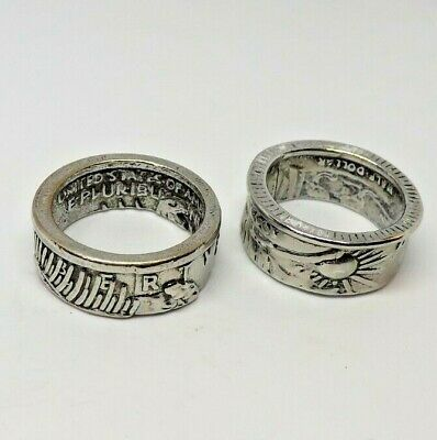 $14 • Buy 2 Men's Preowned Large Coin Style Rings Size 10