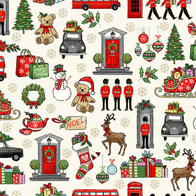 £4.75 • Buy Iconic London With A Christmas Theme On Cream, Makower, 100% Cotton, Fat Quarter