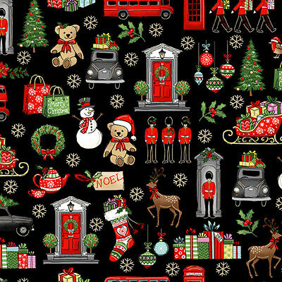 £4.75 • Buy Iconic London With A Christmas Theme On Black, Makower, 100% Cotton, Fat Quarter