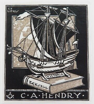 £57.67 • Buy .c1940 EX LIBRIS LINO CUT By G D PERROTTET For C A HENDRY. (HAKLUYT SOCIETY)