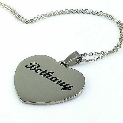 $ CDN25.02 • Buy Personalized Name Engraved Heart Shape Chain Necklace Silver Tone Pendant 1011-2