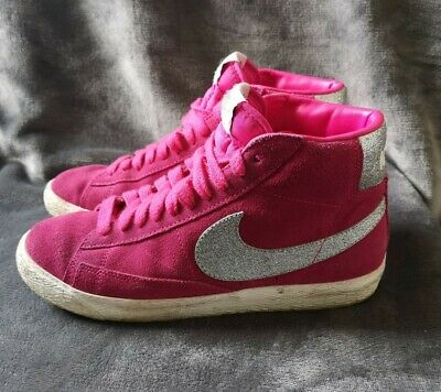 £22.98 • Buy Womens NIKE BLAZERS Pink / Glitter High Top Trainers UK Size 5. Fast Free Post🚚