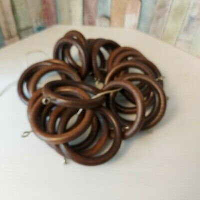 £14.99 • Buy 22 X DARK OAK WOODEN CURTAIN RINGS  - TO FIT 40mm POLE - VGC