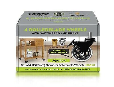 AU34.95 • Buy Rollerblade Office Chair Wheels 3  With Brake Set Of 4 By Slipstick