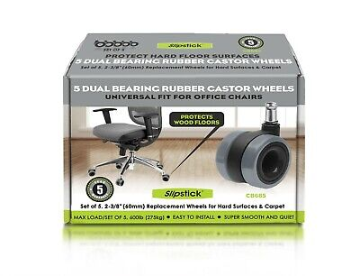 AU34.95 • Buy Rubber Castor Chair Wheels Twin Rollers Dual Bearing Set Of 5 By Slipstick