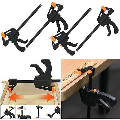 £7.95 • Buy 4x 4  Wood Working Clip Bar F Clamp Clamps Grip Ratchet Quick Release Squeeze