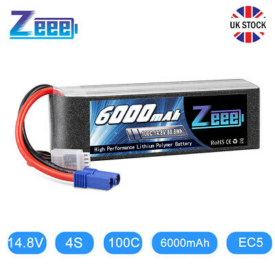£54.98 • Buy Zeee 4S LiPo Battery 6000mAh 14.8V 100C EC5 For RC Racing Truck Helicopter Buggy