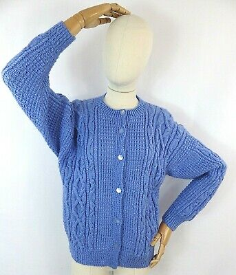 £32.99 • Buy Vintage Rustic Pale Blue Cable Aran Hand Knit Sweater Cardigan Wool Blend S 10