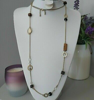 £12 • Buy Oasis Gold Tone Brown Long Beaded Wood Plastic Costume Retro Necklace Gatsby