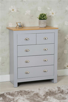 £99.99 • Buy Grey And Oak Colour Top 3+2 Drawer Storage Chest Drawer Bedroom Furniture