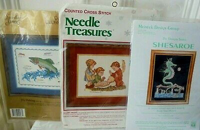 £19.99 • Buy 3 Counted Cross Stitch Kits Inc  Hummel  +  Fly Fishing  + Meineck  Seahorse