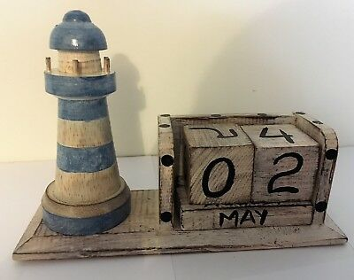 £6 • Buy Hand Made Carved Wooden Lighthouse Perpetual Calendar Nautical