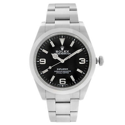 $ CDN15184.71 • Buy Rolex Explorer 39mm Steel Black Dial Automatic Oyster Smooth Mens Watch 214270