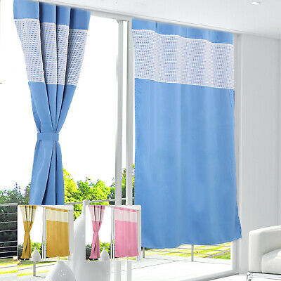 £7.99 • Buy Modern Gingham Kids Bedroom Curtains Thermal Blackout Striped Curtain Eyelet