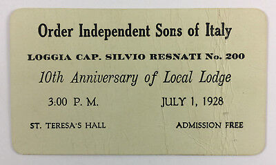 £4.32 • Buy Order Independent Sons Of Italy Invitation Card Lodge 10th Anniversary 1928