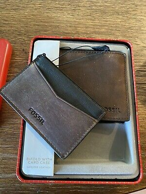 $29.99 • Buy Authentic Fossil Mens Bifold Wallet Austin Leather Brown New W/Tag In Tin