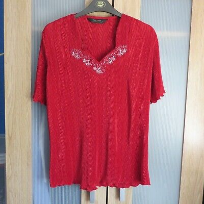 £6.99 • Buy Forever By Michael Gold Red Crinkle Style Top Size L