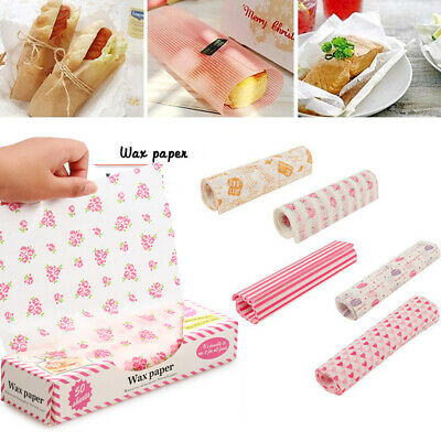 £4.02 • Buy 50Pcs Wax Paper Disposable Food Wrapping Greaseproof Sandwich HamburgSG
