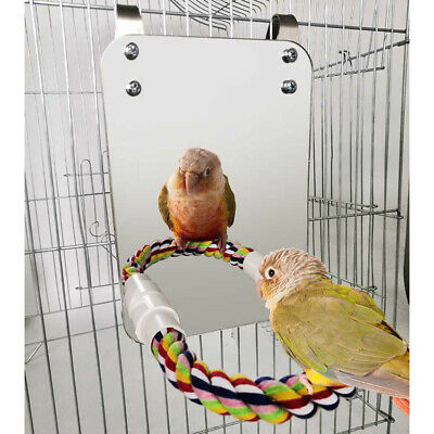 £9.95 • Buy Large Mirror Rope For Parrot Bird Perch Stand Parakeet Finches Cage Play Toy UK