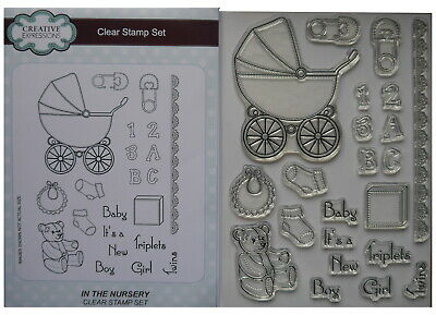 £6.99 • Buy Creative Expressions Clear Stamp Set IN THE NURSERY Baby Pram