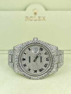 $ CDN28952.28 • Buy Rolex Men's Datejust II Oyster 41mm Iced Out 25ct Genuine Diamonds Ref:116300
