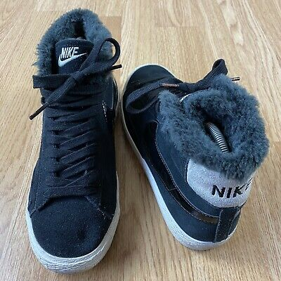 £29.99 • Buy Womens Nike Blazers Suede Mid Top Fur Lined Shoes Trainers Size UK 5 Black