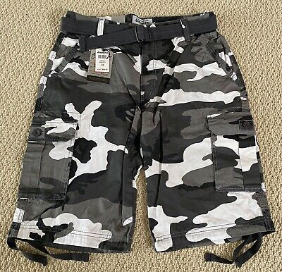 $19.99 • Buy NWT Men's Ablanche Black White Camouflage Camo Belted Cargo Shorts SIZES 32-44