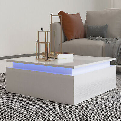 £89 • Buy White Gloss Wooden Coffee Table With 2 Storage Cabinet LED Modern Living Room