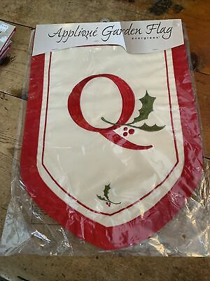 $ CDN20.77 • Buy Q Initial Welcome Personalized Garden Flag 12 X18  Red Holly Ornate Christmas