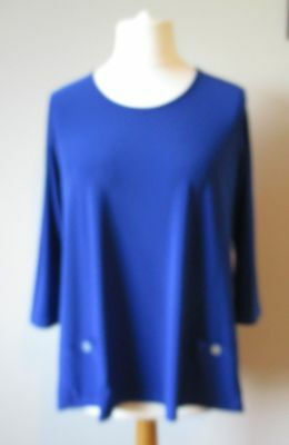 £18.99 • Buy Yong Kim Stretch Jersey Top With Patch Pockets Detail Royal Blue Size 12 New