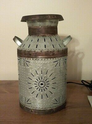 $18 • Buy Country Milk Can Accent Light In Punched Tin