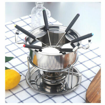 £12.99 • Buy Cheese Chocolate Fondue Set Stainless Steel Melting Pot With 6 Forks Fuel Burner