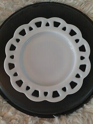 $9.95 • Buy 2 Milk Glass Opaque White Vintage Cake Salad, Candy, Scallop Lace Edges Plate