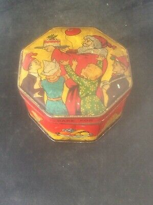 £70 • Buy 1930s Jacob's Biscuits Childrens Xmas Cake Tin Santa Father Christmas Lithograph
