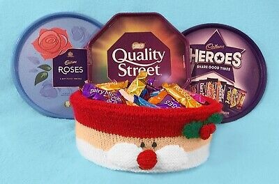 £2.99 • Buy KNITTING PATTERN - Father Christmas Santa Face Sweet Tub Cover - Roses Chocolate