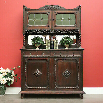 AU1450 • Buy One Of A Matching Pair, Antique French Oak Sideboard 2 Height Cupboard Cabinet