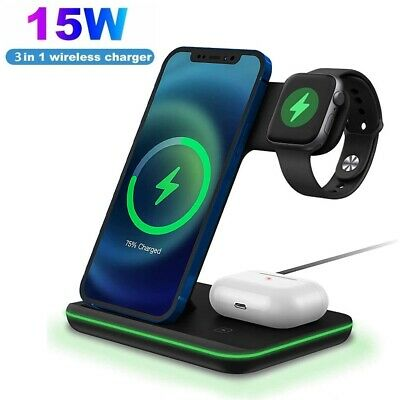 £20.59 • Buy 15W Qi Wireless Charger Dock Stand 3in1 For Apple Watch Air Pods IPhone Station