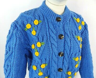 £59.99 • Buy Vintage Blue Cable Aran Hand Knit Embroidered Cute Cottagecore Cardigan 14 M