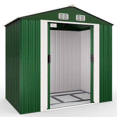 £239.95 • Buy Garden Metal Tool Shed Galvanised Roofed Outdoor Storage Container 7x4ft
