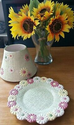 £18.99 • Buy YANKEE CANDLE Large Green Yellow Pink Floral Daisy Chain Tray Shade Topper Set