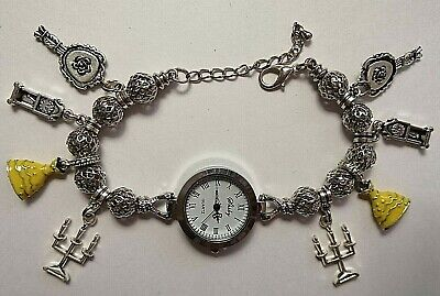 £10.99 • Buy Handmade Silver BEAUTY AND THE BEAST  Watch Bracelet With 8 Silver Charms