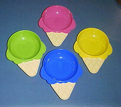£5.78 • Buy GREENBRIER Ice Cream Waffle Cone Plastic Bowls /Dishes Set Of (4) RED BLUE GREEN