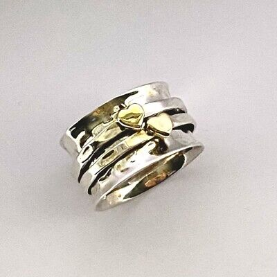 £23.99 • Buy 925 Sterling Silver Hearts Spinning Ring Worry Stress Thumb Ring  Size N 1/2