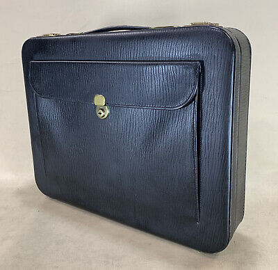 £191.11 • Buy Vintage Cheney England Leather Black Briefcase Business Bag Brass Lock With Keys