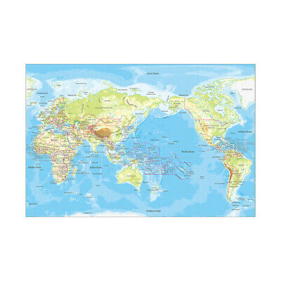 AU5.27 • Buy World Topographical Map Print Decor Unframed A1 A2