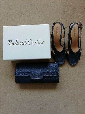 £38.99 • Buy Roland Cartier Navy Glitter Shoes Sandals And Matching Bag Size Uk 6 Eur 39